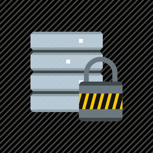database, internet, padlock, password, protect, security, storage icon