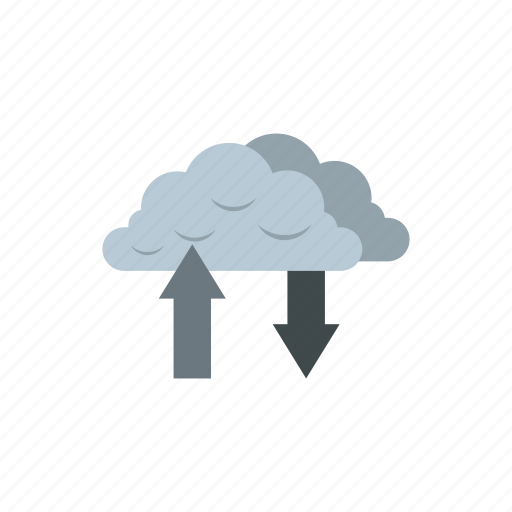 arrows, cloud, communication, connection, internet, network, technology icon