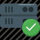 check, database, hosting, network, server, storage, technology