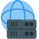 database, global, hosting, network, server, storage, technology icon