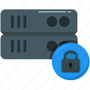 database, hosting, lock, network, server, storage, technology