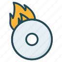 cd, disc, dvd, fire icon