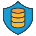 database, secure, server, shield icon