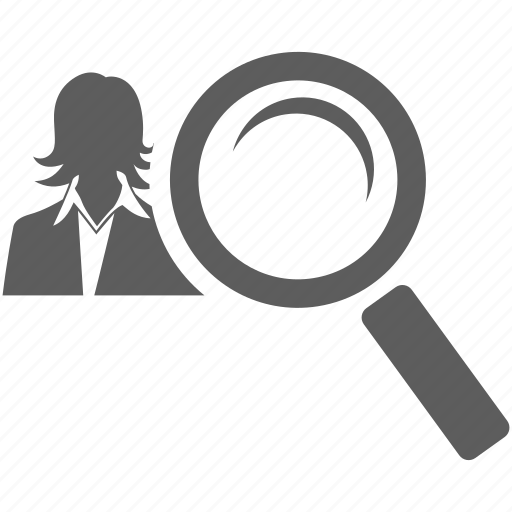 female, find, for, girl, magnifying, search, woman, women, zoom icon