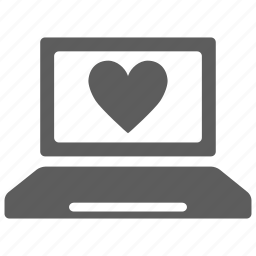 browser, computer, heart, internet, laptop, love, valentine icon