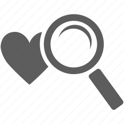find, heart, love, magnifier, search, view, zoom icon