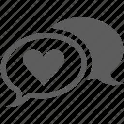 bubble, heart, love, message, speach, speech, talk icon