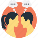 exchanging opinion, getting to know, knowing each other, relationship, searching profiles icon