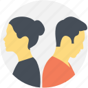couple in fight, disagreement, distant couple, distant love, love fight icon