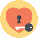 closed heart, heart key, lock and key, locked heart, unlocking love icon