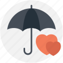 love under umbrella, lovely weather, protecting love, raining love, romantic weather icon