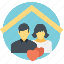 happily married, happy couple, happy house, happy household, married couple icon
