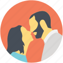couple kissing, instant connection, intimate kiss, romantic meetup, snuggling icon