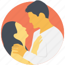 couple hugging, falling in love, holding, romantic, snuggling icon