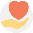 giving love, heart for you, heart in hands, presenting love icon