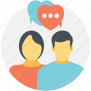 couple chatting, internet interaction, online connection, speed date chat, speed dating icon