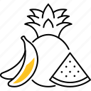 fruit, food, banana, watermelon, pineapple icon