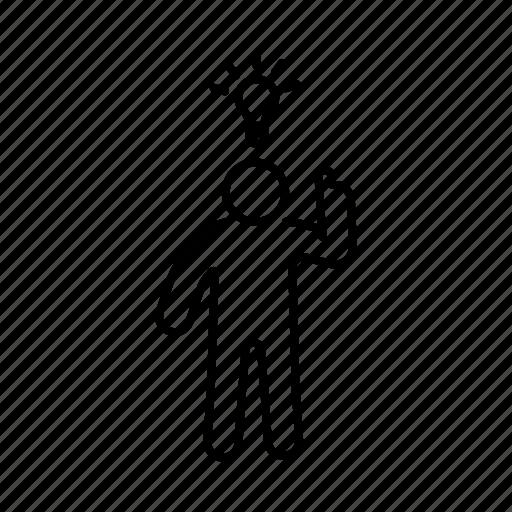 Argue, bulb, deabte, democracy, gesture, line, person icon - Download on Iconfinder