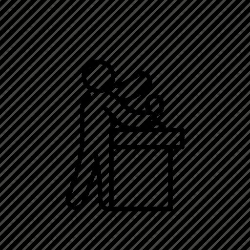 Argue, deabte, democracy, gesture, line, person, tribune icon - Download on Iconfinder