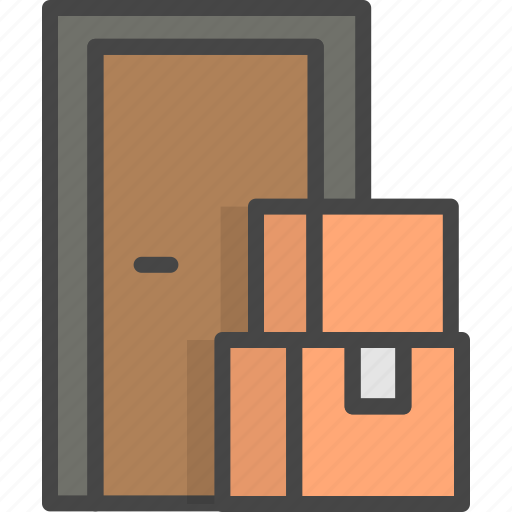 Box, delivery, door, filled, outline, service icon - Download on Iconfinder