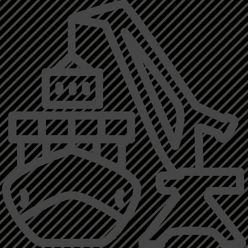 container, crane, delivery, line, outline, service icon