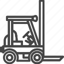 car, delivery, forklift, line, outline, service icon