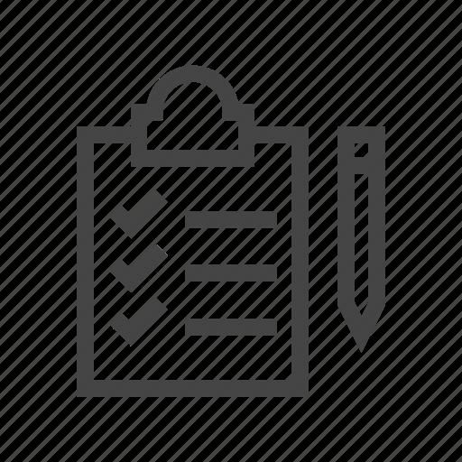 checklist, clipboard, document, list, pen, pencil, write icon