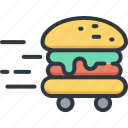 burger, business, delivery, food, logistic, service, shipping icon