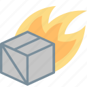 box, delivery, fast, fire, package, parcel, shipping icon
