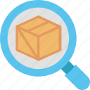 box, delivery, find, magnifier, search, shipping, zoom icon