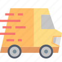 car, delivery, fast, shipping, transport, truck, urgent icon