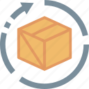 box, cargo, delivery, package, parcel, return, service icon