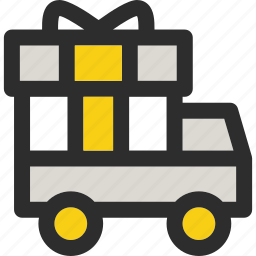 christmas, delivery, gift, package, present, transport, van icon
