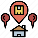delivery, gps, house, location, locations, map, pin, pointer, shipping icon