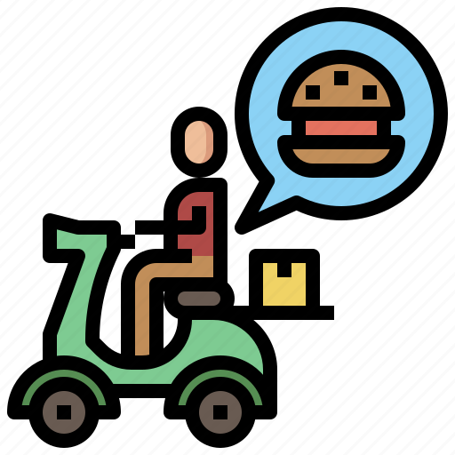 delivery, food, meal, order, restaurant, shipping, tray, wheels icon