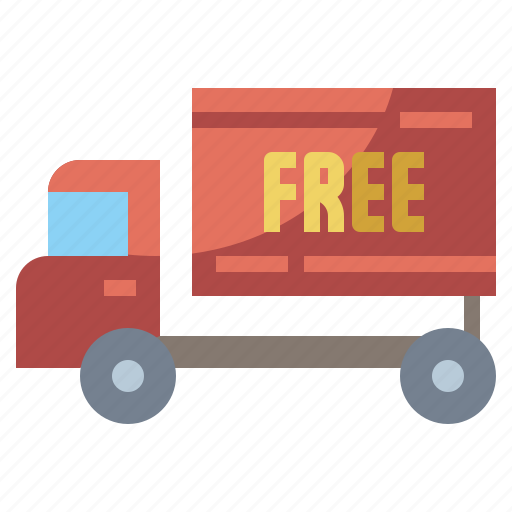 automobile, commerce, delivery, free, shipping, shopping, transport, vehicle icon