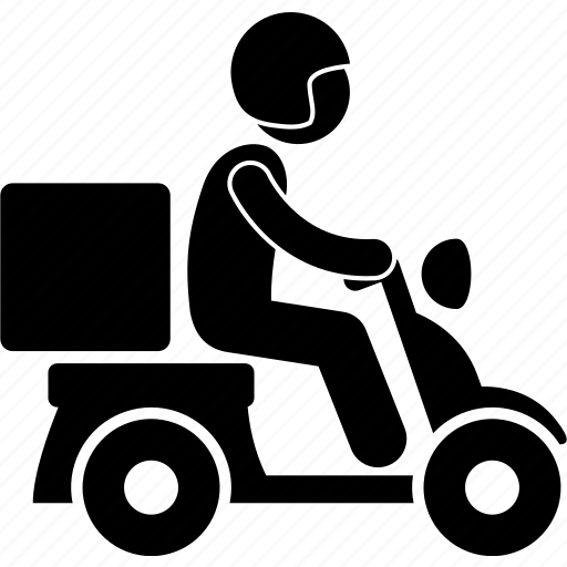 courier, delivery, deliveryman, motorbike, parcel, service, shipping icon