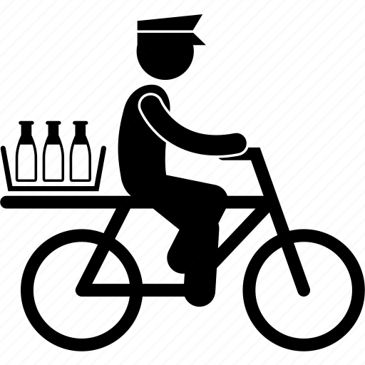 bicycle, courier, delivery, deliveryman, milkman, service icon