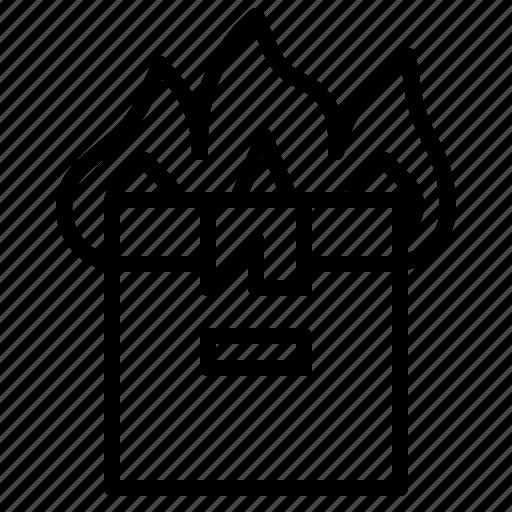 box, burn, fire, insurance, shipping, transit icon