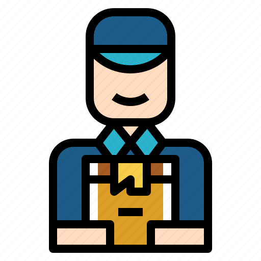 Delivery, service, postman, shipping, man icon