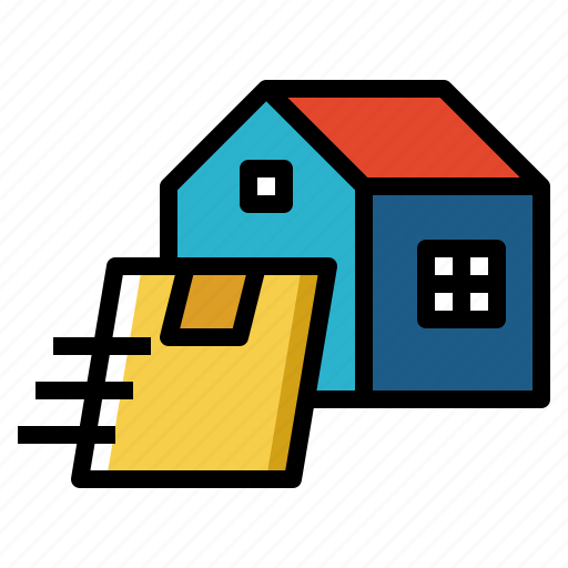 box, delivery, door, home, package, post icon