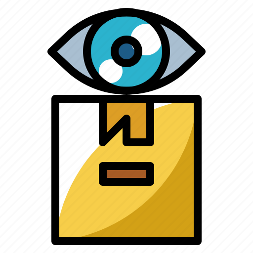 box, delivery, eye, package, scan icon