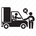 check, shipping, stop, transport, truck icon