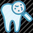 checkup, dental, dentist, dirt, magnifier, microbe icon