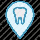dental, dentist, dentistry, map pointer, marker pin, stomatology icon