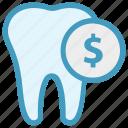 coin, dental, dollar, money, stomatology, tooth
