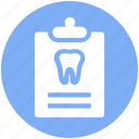 record, tooth, case, care, clipboard, dental
