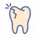 broken, dental, dentist, medical, oral, tooth icon