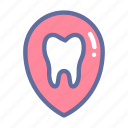 dental, dentist, location, medical, oral, pin, tooth icon