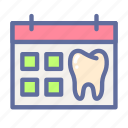 calendar, dental, dentist, medical, oral, schedule, tooth icon